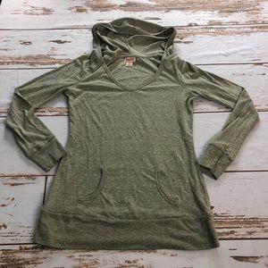 Mossimo Supply Co. Green Hooded Long Sleeve Shirt